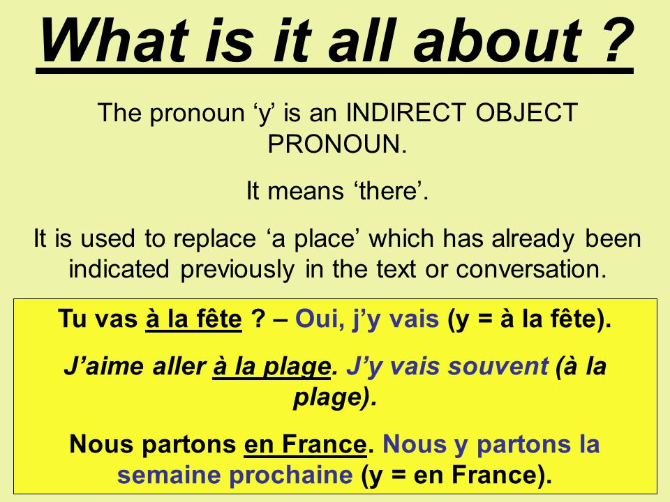 What is it all about .The pronoun y is an INDIRECT OBJECT PRONOUN.