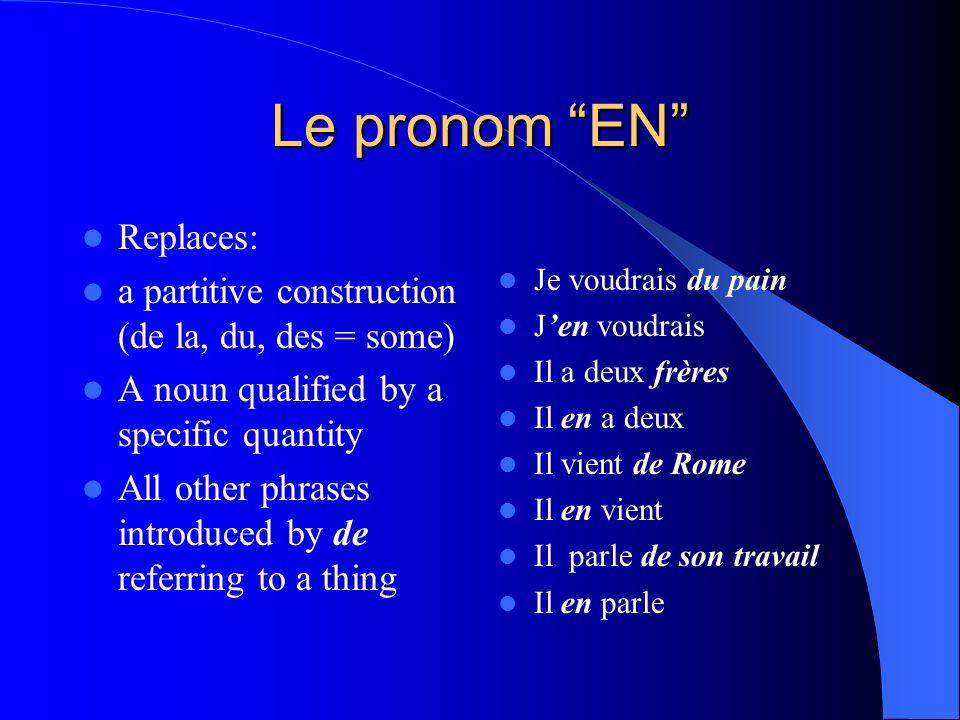 MORE NOTES: La norme: Comparisons 4.1: – Understanding the nature of langue through making comparisons La question essentielle: – What does « en » rep