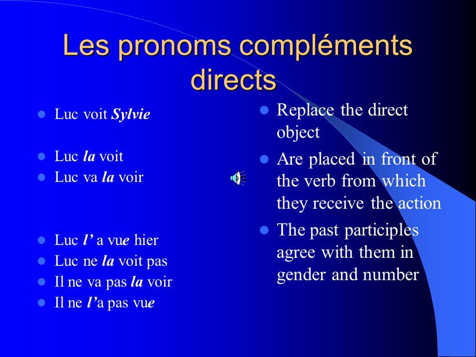 Les compléments directs sont: Me Te Le La Nous Vous Les Me You Him, it Her, it Us You Them