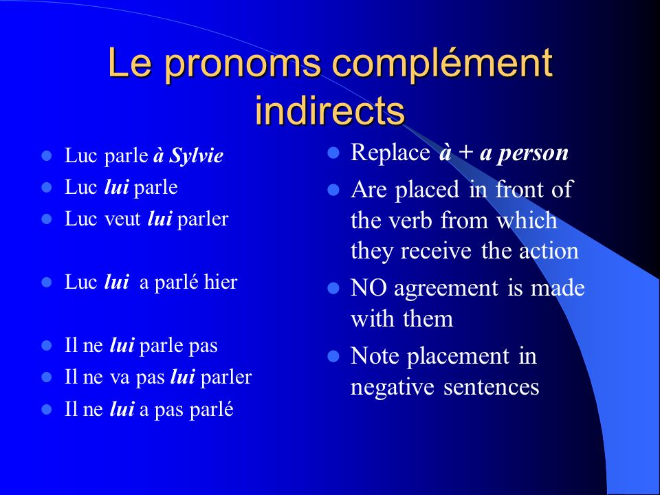 Les compléments indirects sont: Lui Leur To him To her To them