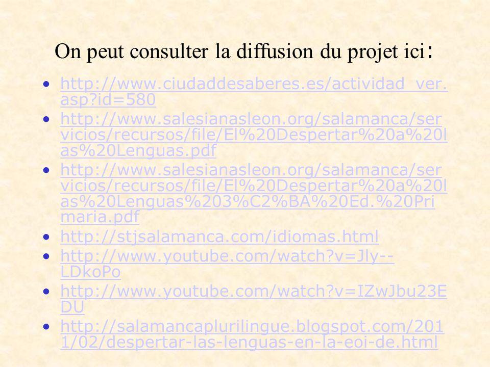On peut consulter la diffusion du projet ici : http://www.ciudaddesaberes.es/actividad_ver.
