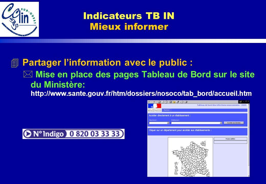4 Partager linformation avec le public : * Mise en place des pages Tableau de Bord sur le site du Ministère: http://www.sante.gouv.fr/htm/dossiers/nos