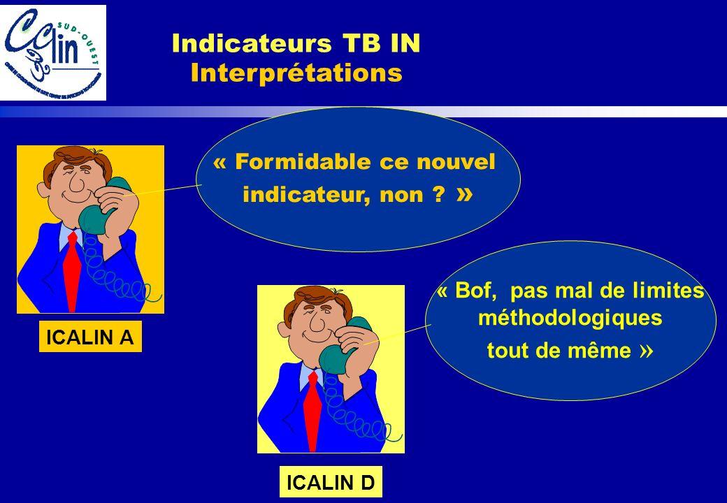 Indicateurs TB IN Interprétations « Formidable ce nouvel indicateur, non ? » ICALIN A « Bof, pas mal de limites méthodologiques tout de même » ICALIN