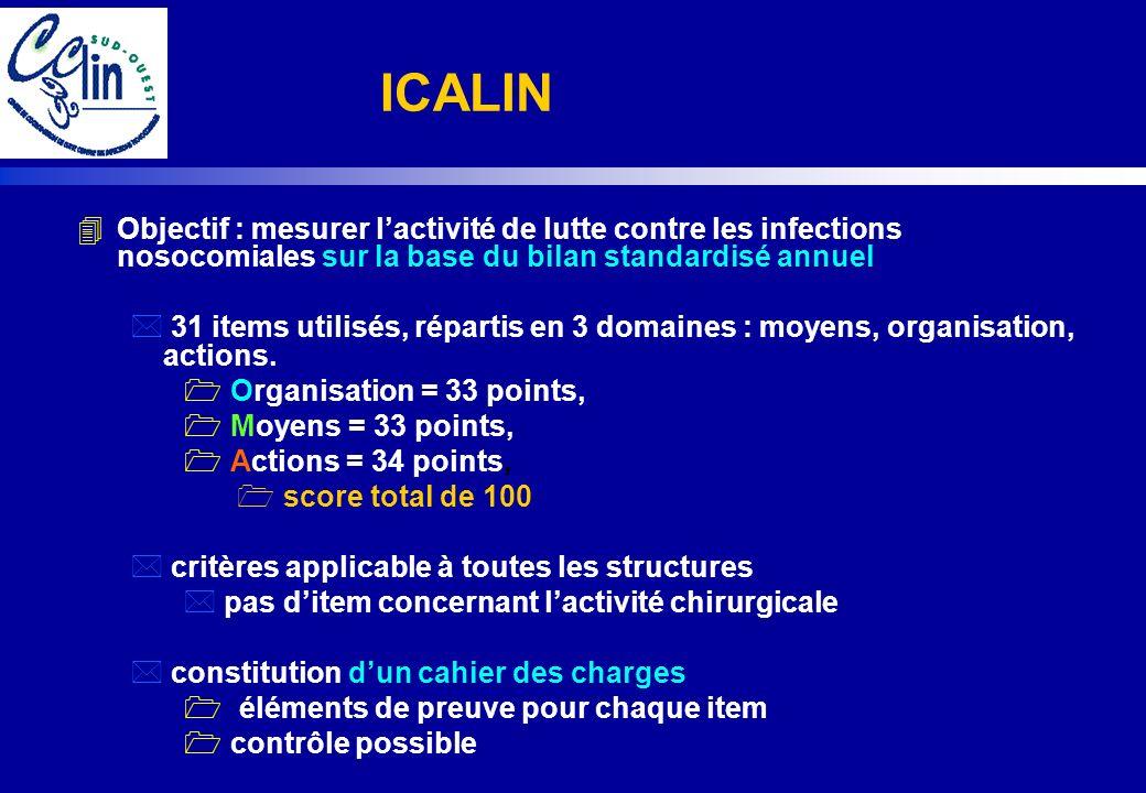 4Objectif : mesurer lactivité de lutte contre les infections nosocomiales sur la base du bilan standardisé annuel * 31 items utilisés, répartis en 3 d