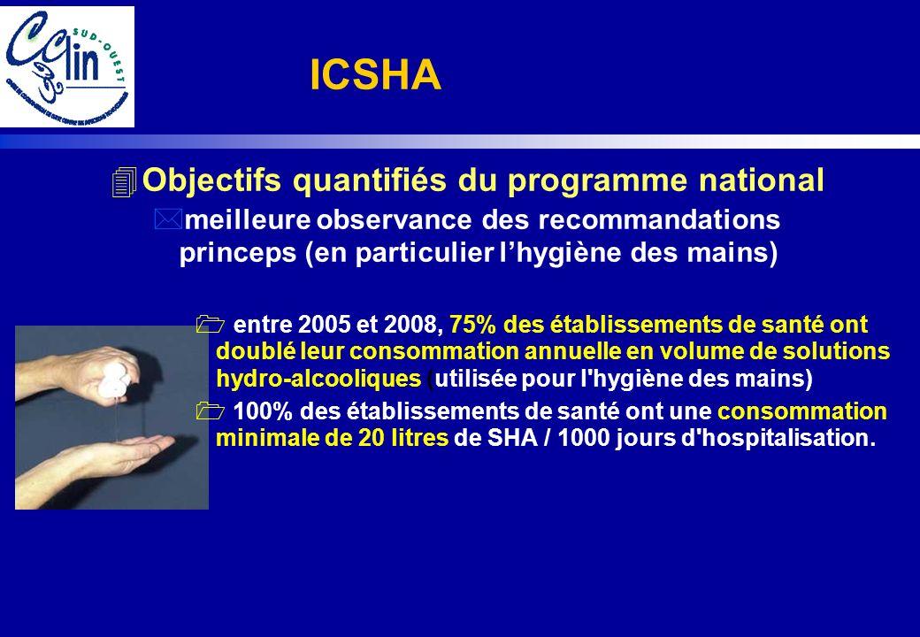4Objectifs quantifiés du programme national *meilleure observance des recommandations princeps (en particulier lhygiène des mains) entre 2005 et 2008,