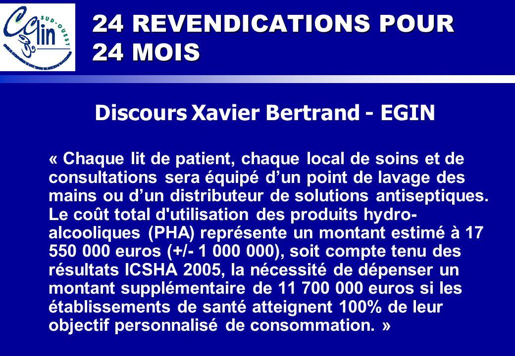 24 REVENDICATIONS POUR 24 MOIS Discours Xavier Bertrand - EGIN « Chaque lit de patient, chaque local de soins et de consultations sera équipé dun poin