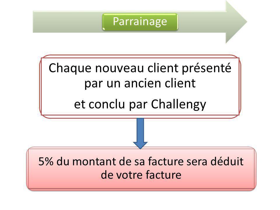 Parrainage Chaque nouveau client présenté par un ancien client et conclu par Challengy 5% du montant de sa facture sera déduit de votre facture