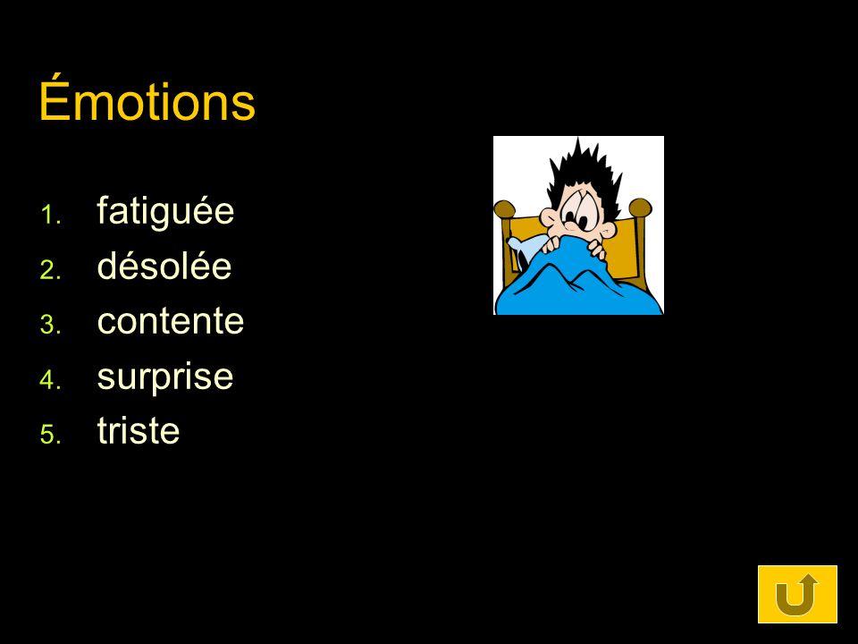 Émotions 1. fatiguée 2. désolée 3. contente 4. surprise 5. triste