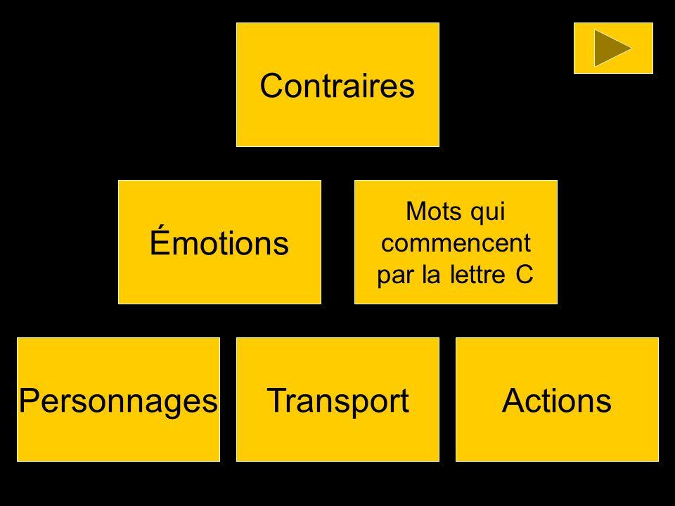 Émotions Mots qui commencent par la lettre C Contraires ActionsTransportPersonnages