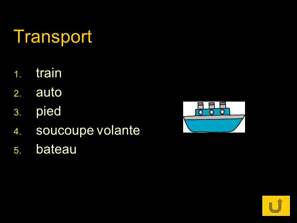 Transport 1. train 2. auto 3. pied 4. soucoupe volante 5. bateau