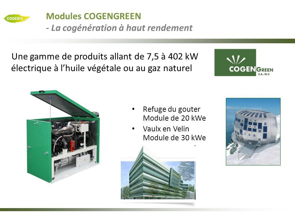 Refuge du gouter Module de 20 kWe Vaulx en Velin Module de 30 kWe Une gamme de produits allant de 7,5 à 402 kW électrique à lhuile végétale ou au gaz