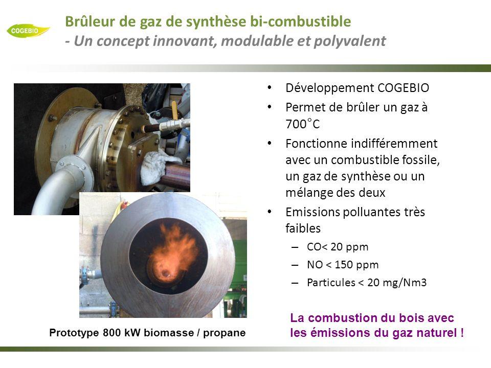 Prototype 800 kW biomasse / propane Développement COGEBIO Permet de brûler un gaz à 700°C Fonctionne indifféremment avec un combustible fossile, un ga
