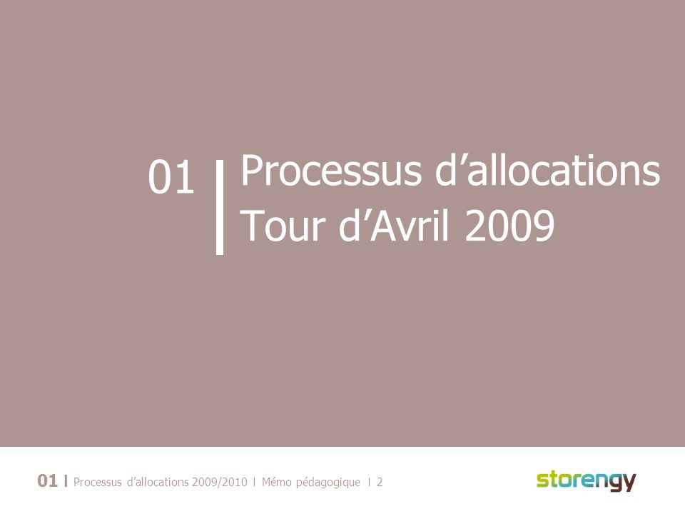I Processus dallocations 2009/2010 I Mémo pédagogique I 2 01 Processus dallocations Tour dAvril 2009 01 I