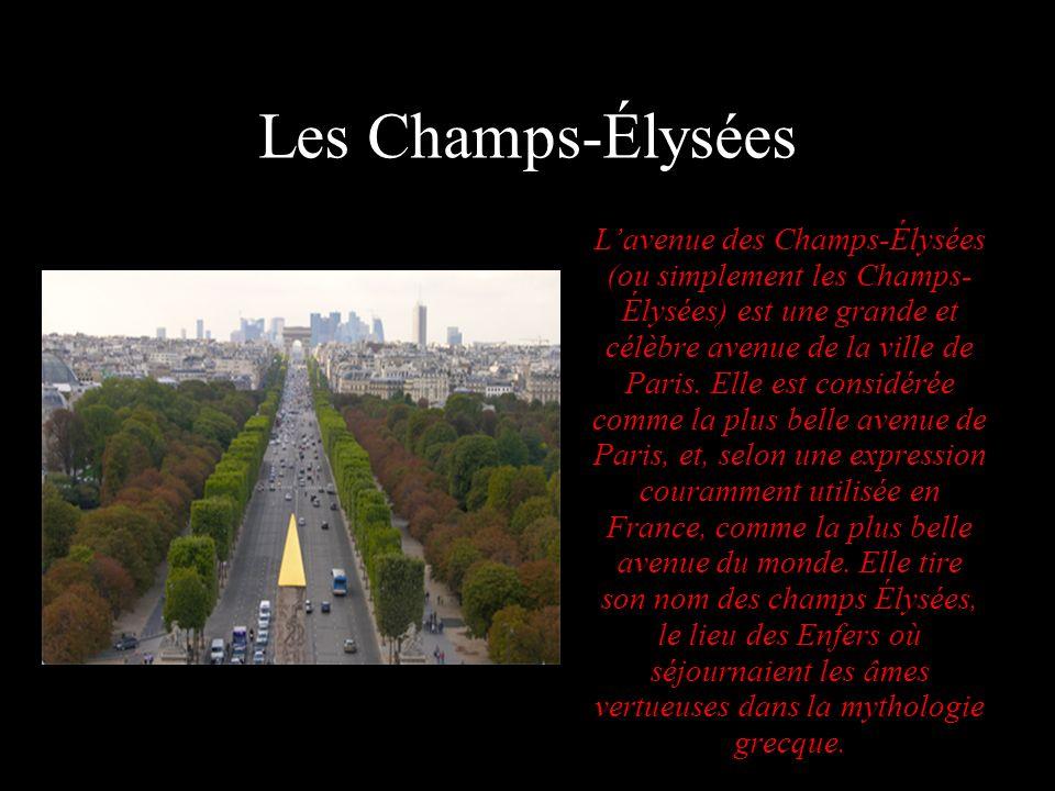 Les Champs-Élysées Lavenue des Champs-Élysées (ou simplement les Champs- Élysées) est une grande et célèbre avenue de la ville de Paris. Elle est cons