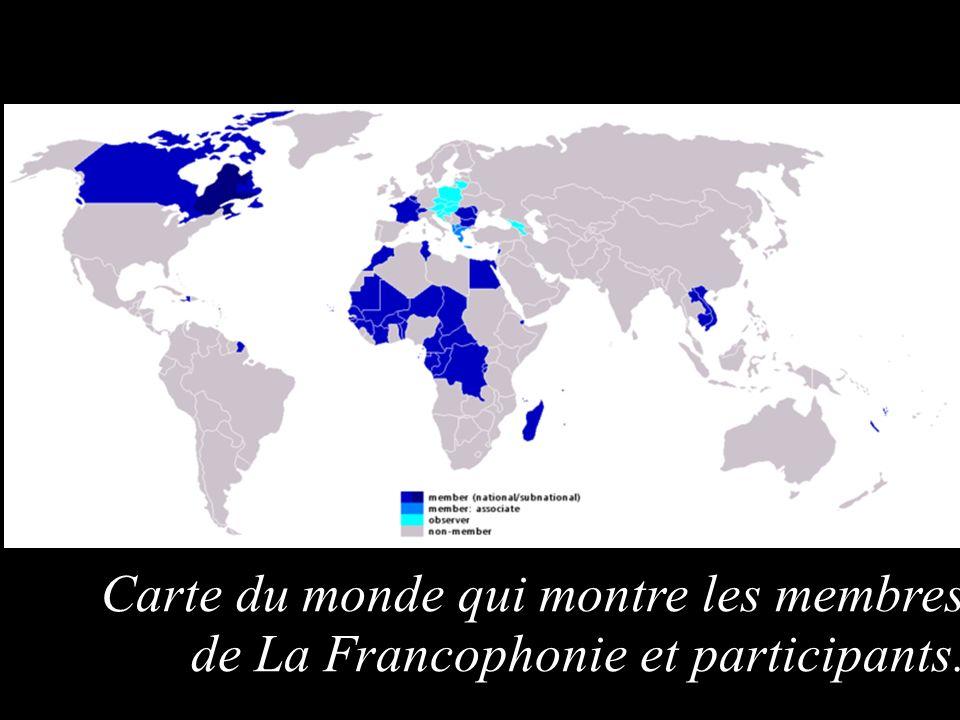 Pulse para añadir texto Carte du monde qui montre les membres de La Francophonie et participants.
