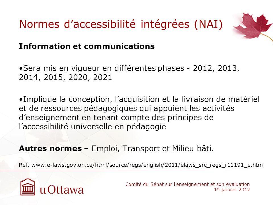 Normes daccessibilité intégrées (NAI) Information et communications Sera mis en vigueur en différentes phases - 2012, 2013, 2014, 2015, 2020, 2021 Imp