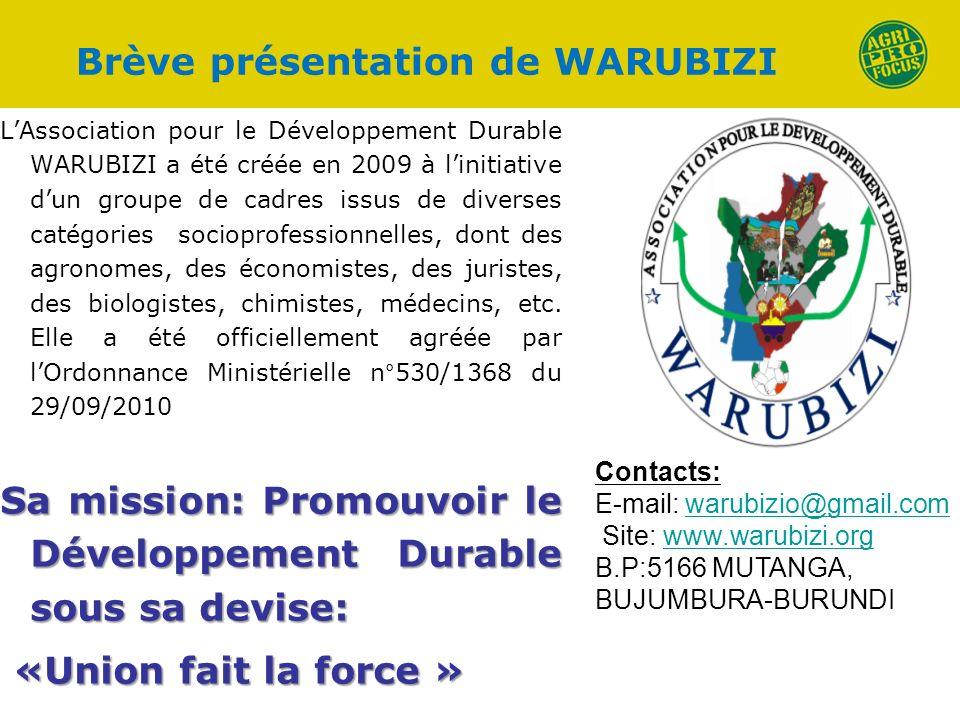 Brève présentation de WARUBIZI LAssociation pour le Développement Durable WARUBIZI a été créée en 2009 à linitiative dun groupe de cadres issus de div