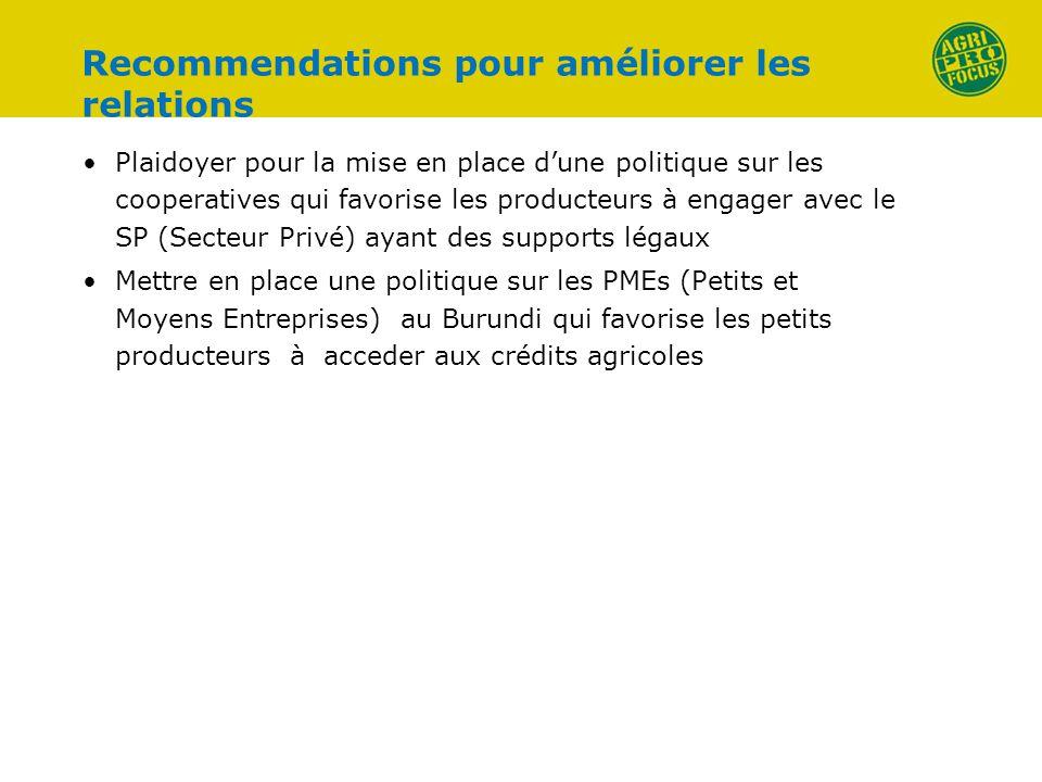Recommendations pour améliorer les relations Plaidoyer pour la mise en place dune politique sur les cooperatives qui favorise les producteurs à engage