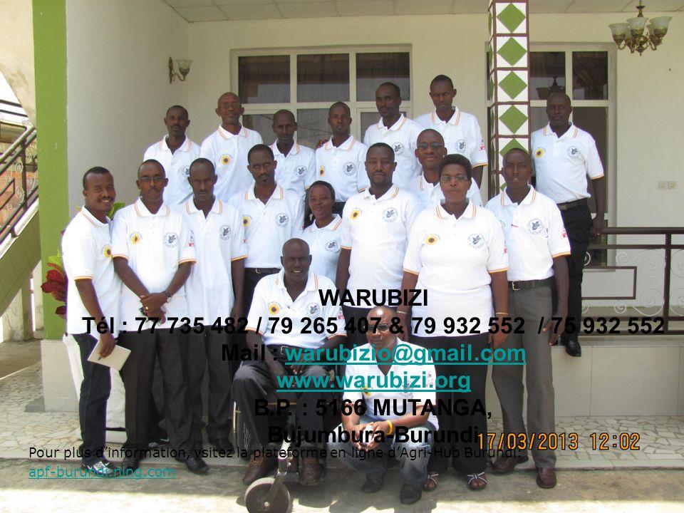 Pour plus dinformation, vsitez la plateforme en ligne dAgri-Hub Burundi: apf-burundi.ning.com apf-burundi.ning.com WARUBIZI Tél : 77 735 482 / 79 265