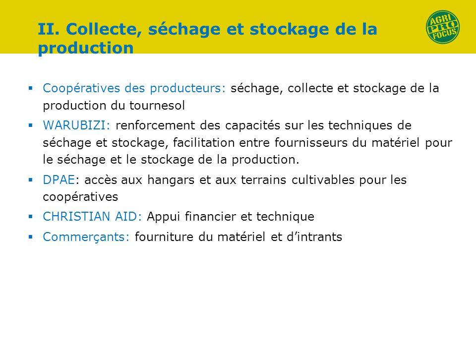 Coopératives des producteurs: séchage, collecte et stockage de la production du tournesol WARUBIZI: renforcement des capacités sur les techniques de s