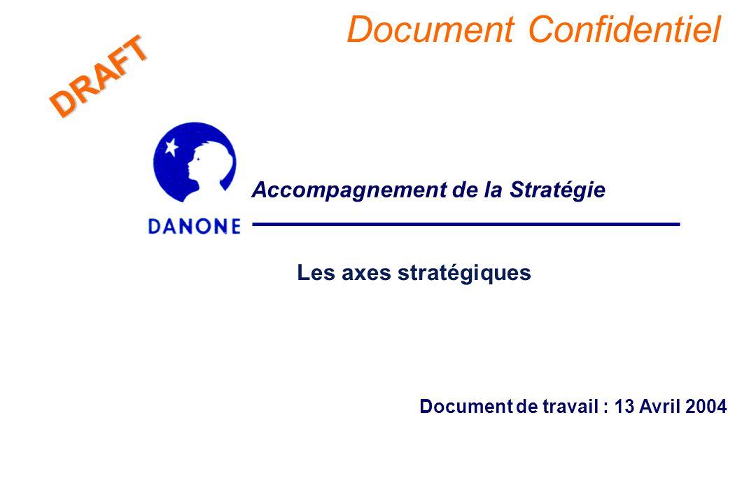 - 2 - DRAFT Croissance sur 3 métiers autour de la confiance des consommateurs n Recentrage du Groupe Danone sur trois secteurs dynamiques – Produits Laitiers Frais, Boissons et Biscuits.