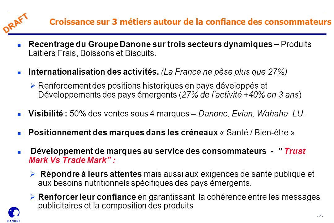 - 2 - DRAFT Croissance sur 3 métiers autour de la confiance des consommateurs n Recentrage du Groupe Danone sur trois secteurs dynamiques – Produits L