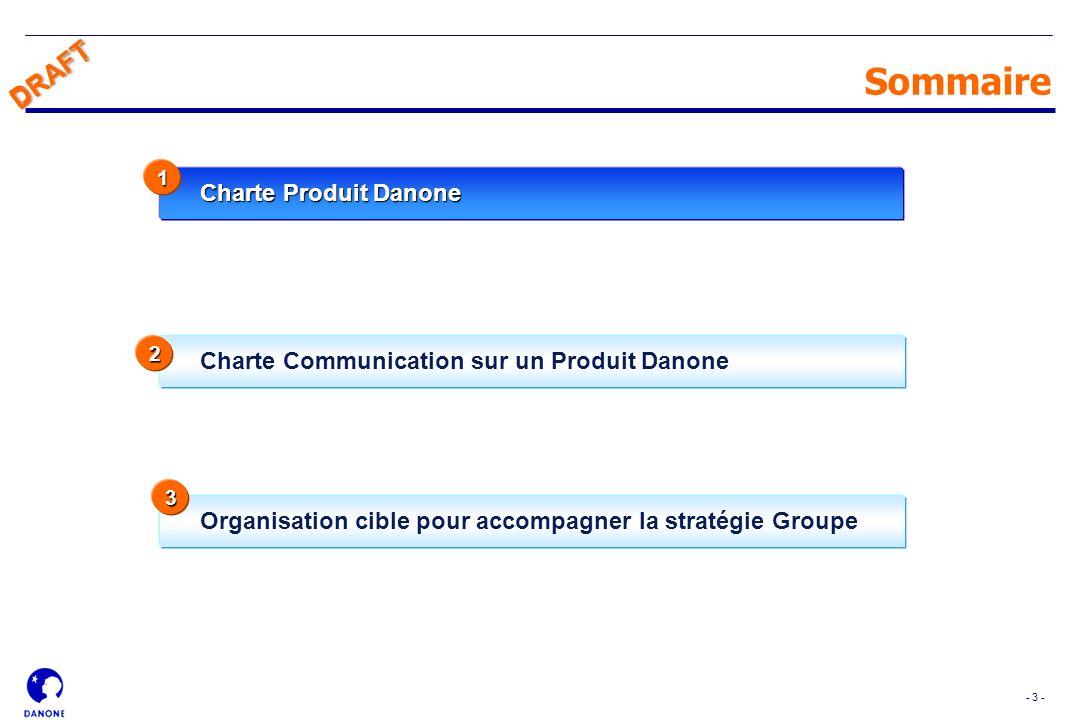 - 3 - DRAFT Charte Communication sur un Produit Danone Sommaire Charte Produit Danone 1 Organisation cible pour accompagner la stratégie Groupe 2 3 DR