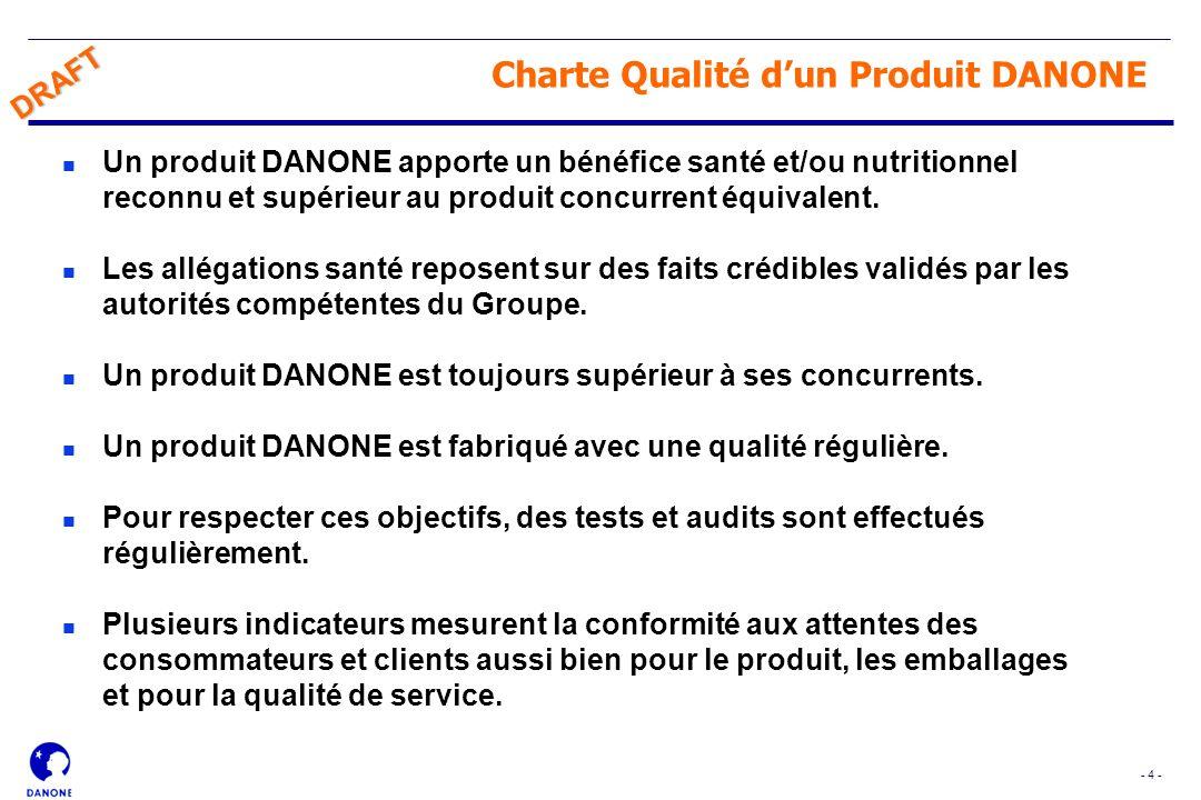 - 4 - DRAFT Charte Qualité dun Produit DANONE n Un produit DANONE apporte un bénéfice santé et/ou nutritionnel reconnu et supérieur au produit concurr