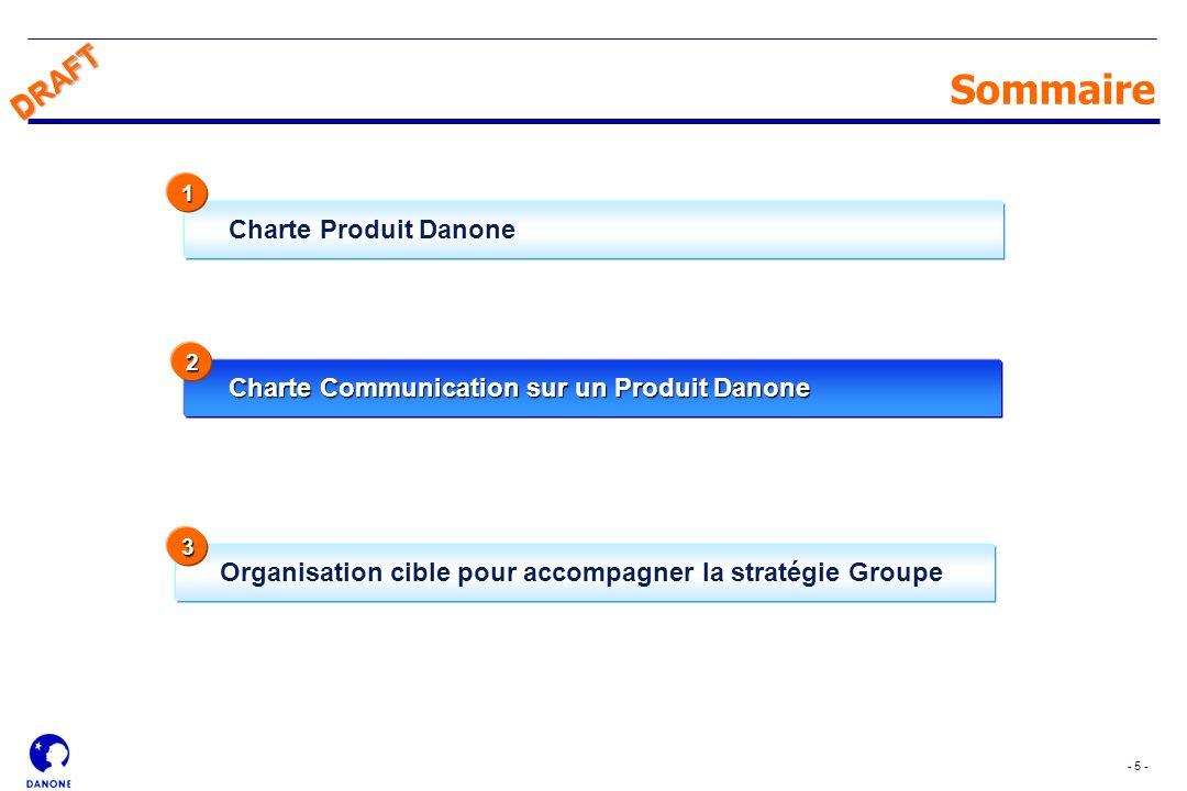 - 5 - DRAFT Charte Produit Danone Sommaire Charte Communication sur un Produit Danone 1 Organisation cible pour accompagner la stratégie Groupe 2 3 DR