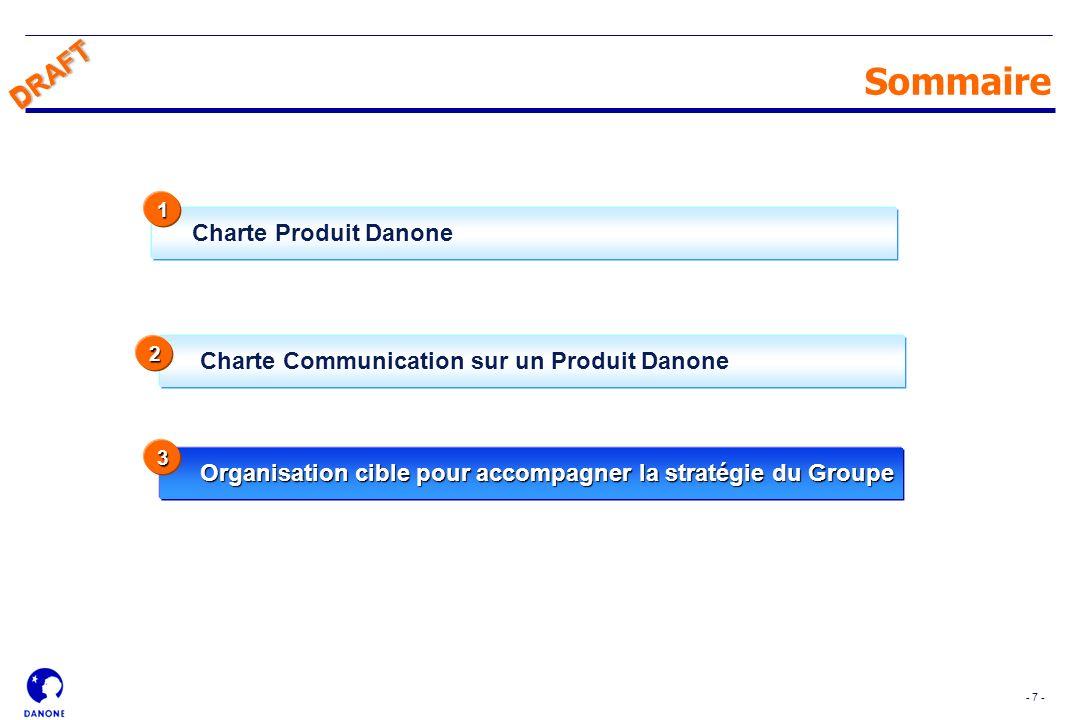 - 7 - DRAFT Charte Communication sur un Produit Danone Sommaire Organisation cible pour accompagner la stratégie du Groupe 3 Charte Produit Danone 2 1