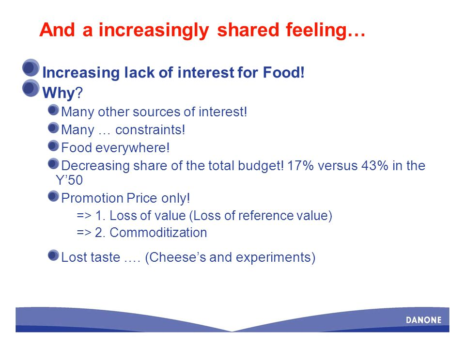 And a increasingly shared feeling… Increasing lack of interest for Food.