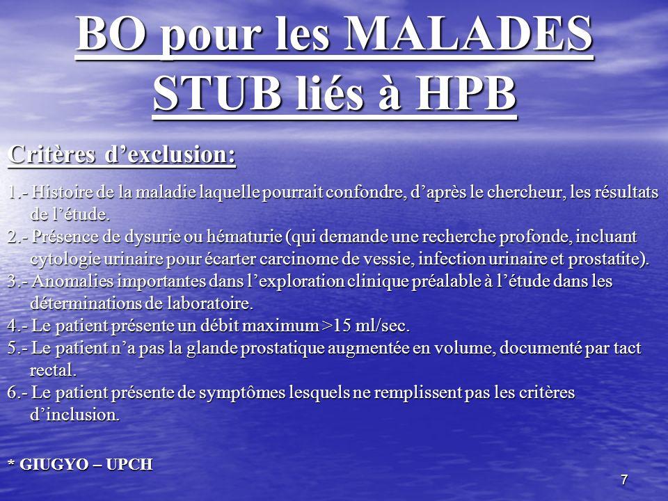 7 BO pour les MALADES STUB liés à HPB Critères dexclusion: 1.- Histoire de la maladie laquelle pourrait confondre, daprès le chercheur, les résultats