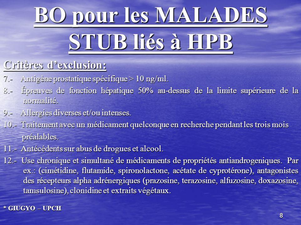 8 BO pour les MALADES STUB liés à HPB Critères dexclusion: 7.- Antigène prostatique spécifique > 10 ng/ml. 8.- Épreuves de fonction hépatique 50% au-d