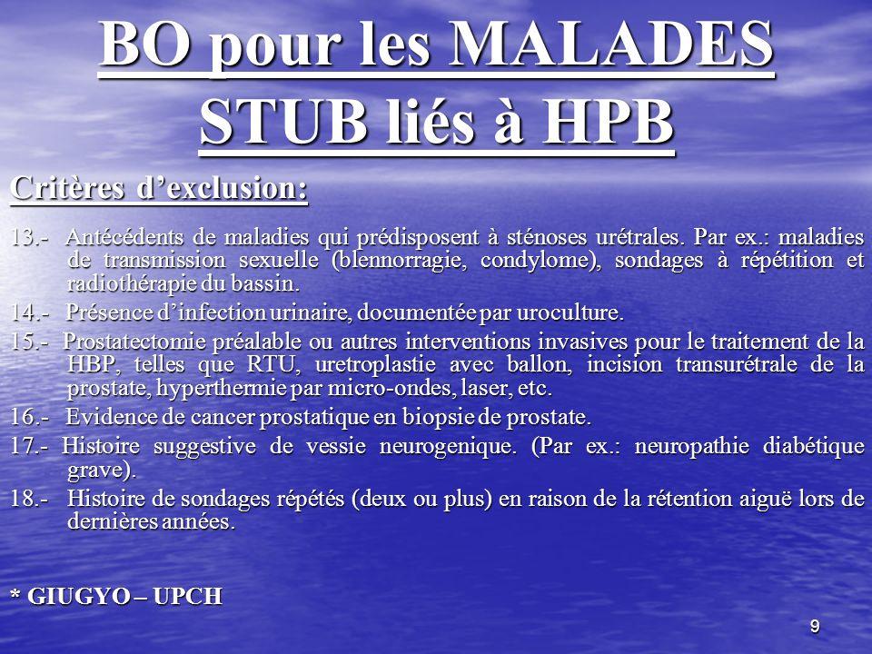 9 BO pour les MALADES STUB liés à HPB Critères dexclusion: 13.- Antécédents de maladies qui prédisposent à sténoses urétrales. Par ex.: maladies de tr