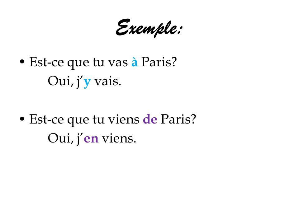 Exemple: Est-ce que tu vas à Paris? Oui, j y vais. Est-ce que tu viens de Paris? Oui, j en viens.