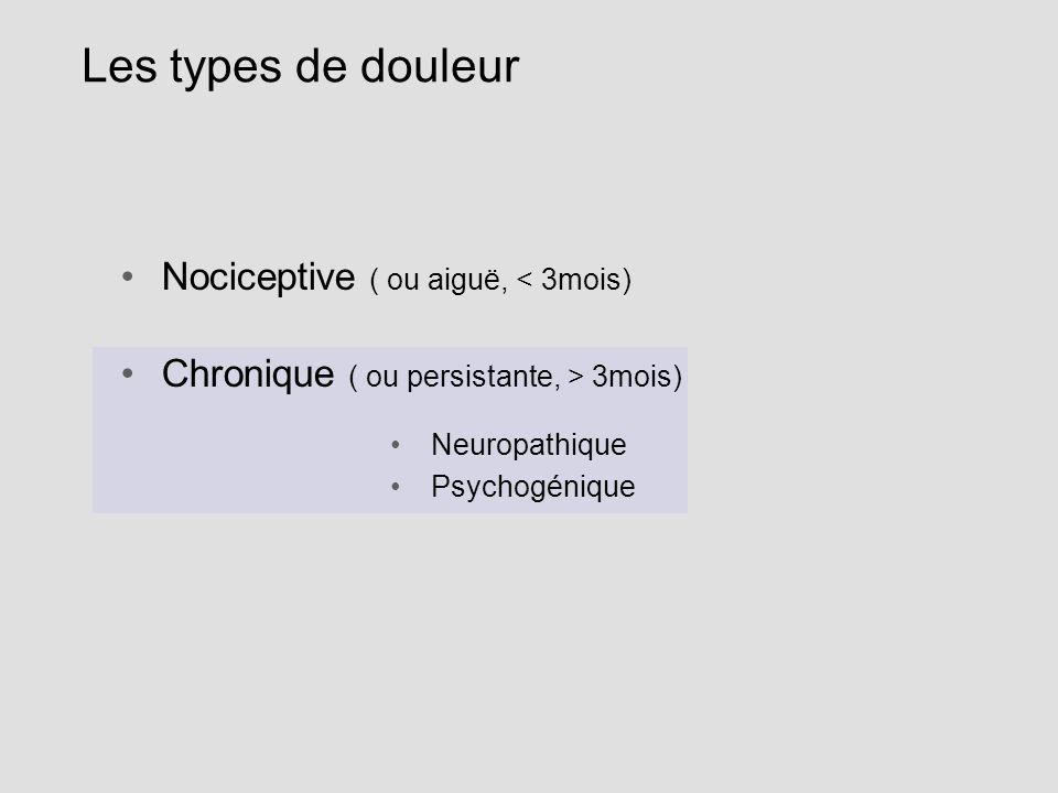 Les types de douleur Nociceptive ( ou aiguë, < 3mois) Chronique ( ou persistante, > 3mois) Neuropathique Psychogénique