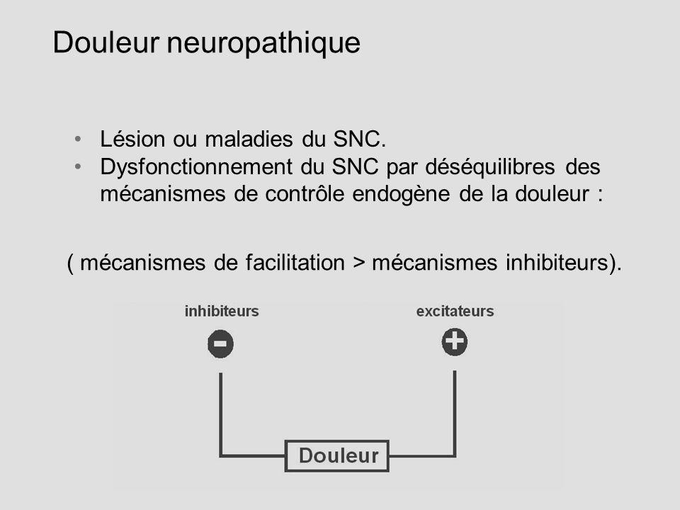 Douleur neuropathique Lésion ou maladies du SNC. Dysfonctionnement du SNC par déséquilibres des mécanismes de contrôle endogène de la douleur : ( méca