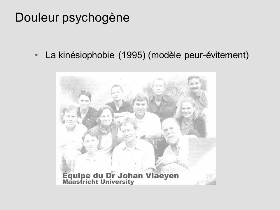 La kinésiophobie (1995) (modèle peur-évitement) Douleur psychogène