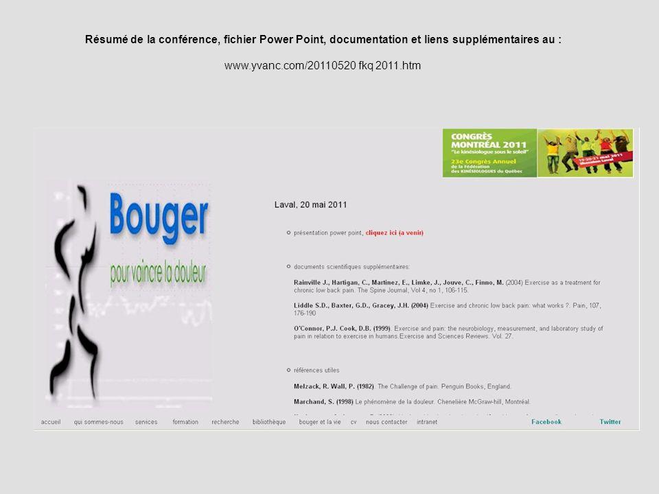 Résumé de la conférence, fichier Power Point, documentation et liens supplémentaires au : www.yvanc.com/20110520 fkq 2011.htm