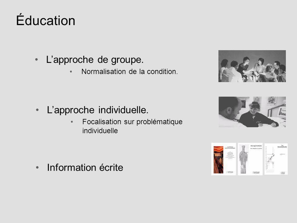 Éducation Lapproche de groupe. Normalisation de la condition. Lapproche individuelle. Focalisation sur problématique individuelle Information écrite