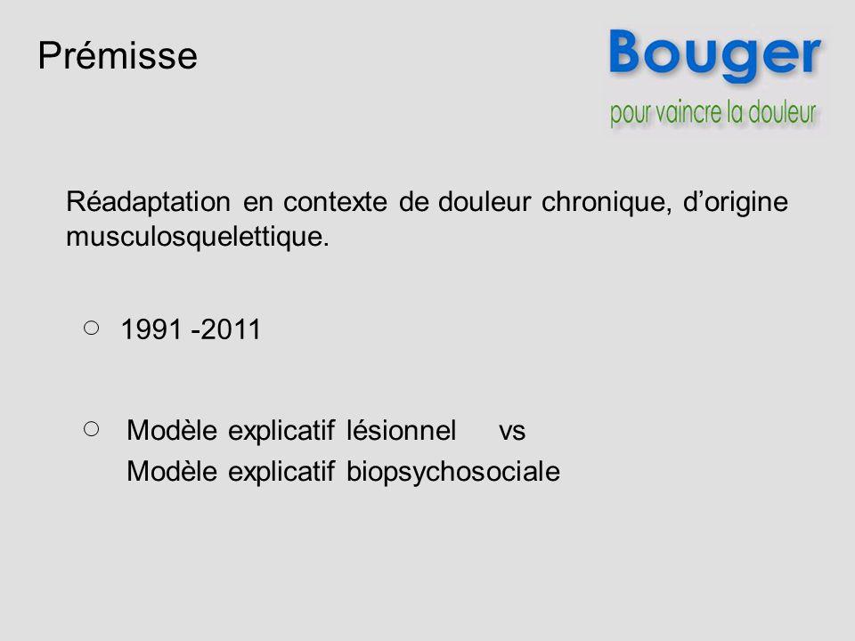 Prémisse 1991 -2011 Modèle explicatif lésionnel vs Modèle explicatif biopsychosociale Réadaptation en contexte de douleur chronique, dorigine musculos