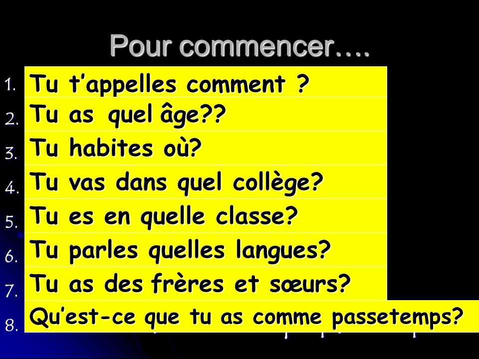 What do they mean.1. tappelles Tu comment . 2. âge quel Tu as .
