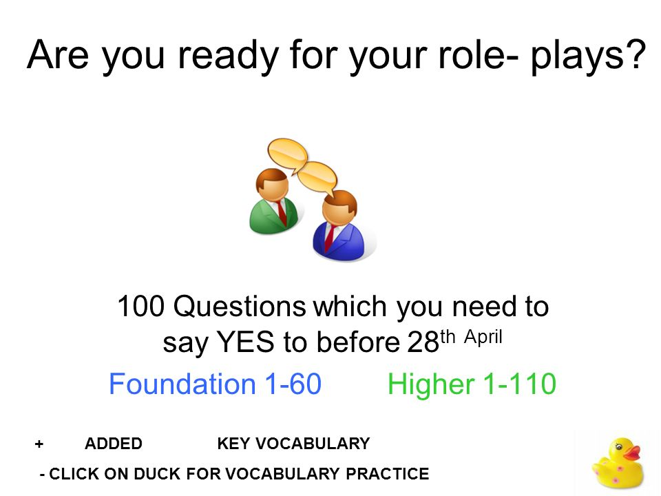Instructions This slide show is designed to help you prepare for the roleplay part of your speaking test.