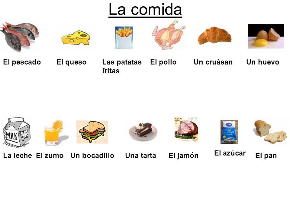 La comida El pescadoEl quesoLas patatas fritas El polloUn cruásanUn huevo La lecheEl zumoUn bocadilloUna tartaEl jamón El azúcar El pan