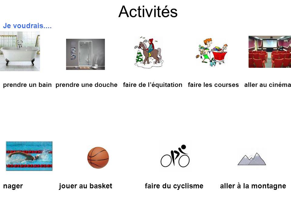 Activités Je voudrais.... prendre un bain prendre une douche faire de léquitation faire les courses aller au cinéma nager jouer au basket faire du cyc