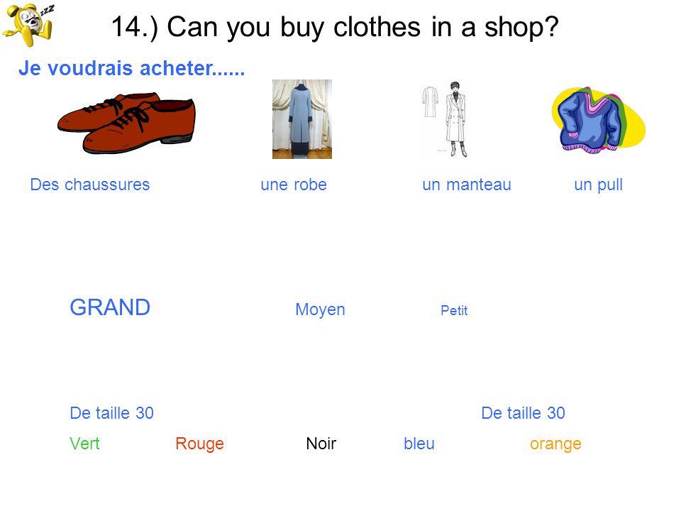 14.) Can you buy clothes in a shop? Je voudrais acheter...... Des chaussures une robe un manteau un pull GRAND Moyen Petit De taille 30 Vert Rouge Noi