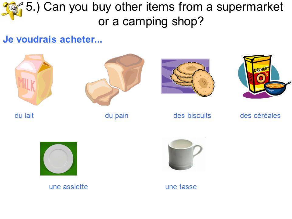 15.) Can you buy other items from a supermarket or a camping shop? Je voudrais acheter... du lait du pain des biscuits des céréales une assiette une t