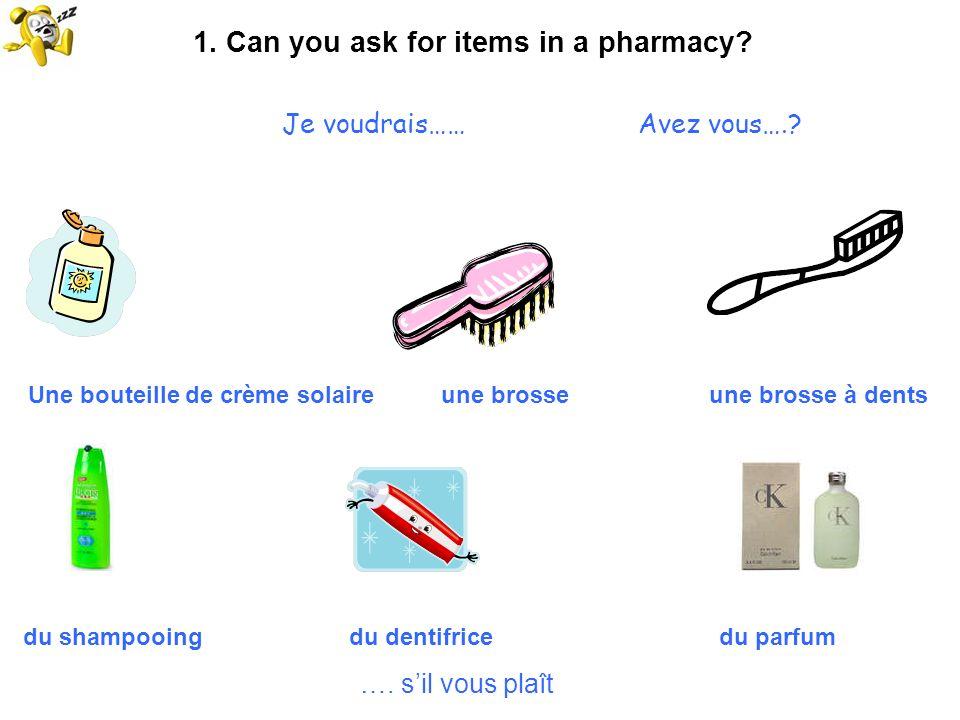 1. Can you ask for items in a pharmacy? Je voudrais…… Avez vous….? Une bouteille de crème solaire une brosse une brosse à dents du shampooing du denti