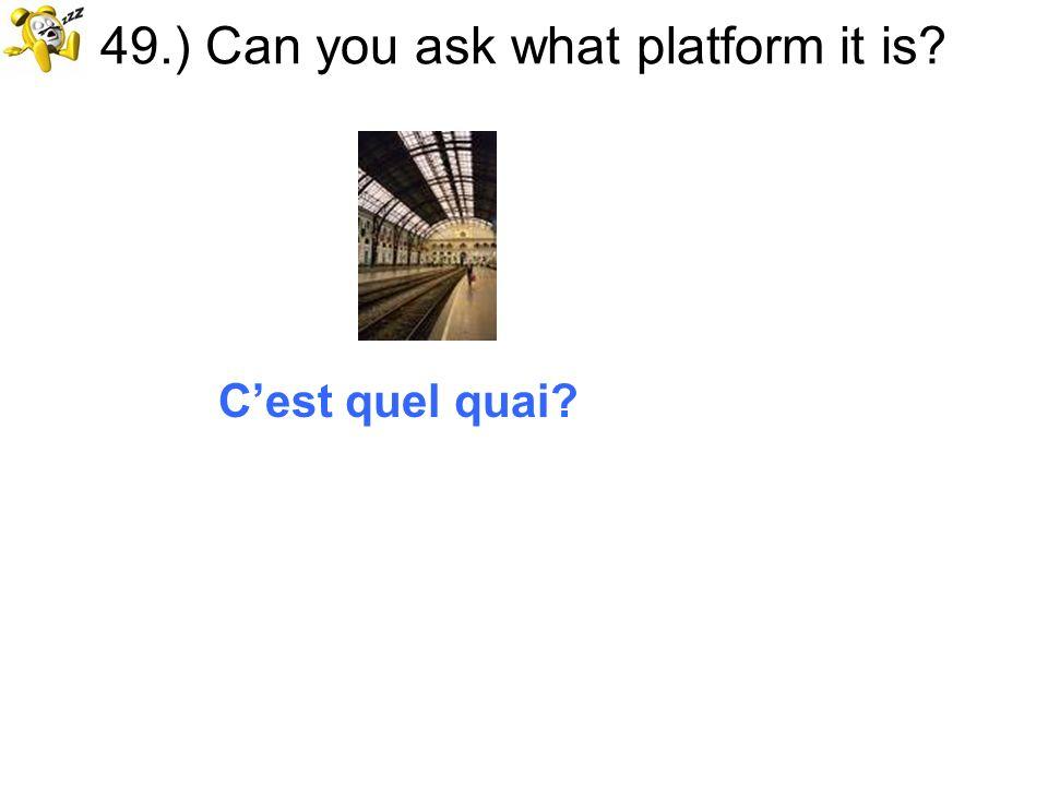 49.) Can you ask what platform it is? Cest quel quai?