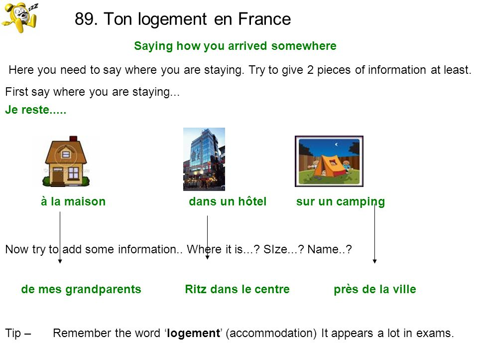 89. Ton logement en France Saying how you arrived somewhere Tip – Remember the word logement (accommodation) It appears a lot in exams. Here you need